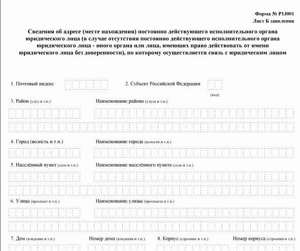 Инструкция Заполнения Формы Р13001 При Изменении Устава